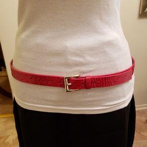 Michael Kors red embossed belt
